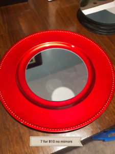 7 Wedding centerpiece bases red chargers (no mirrors)