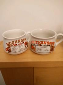 Vintage Chicken & Mushroom soup mugs
