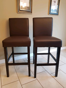 NEW- Brown leather bar stools