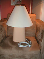 beige lamp and shade