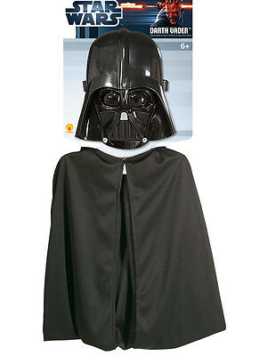 Child Licensed Star Wars Darth Vader Cape & Mask Set Costume (Standard) Kids BN ()