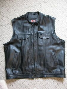 Black Leather Motorcycle Vest XL