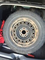 """4  16"""" rims with winter tires 225 70 16"""