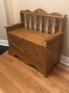 Handcrafted Oak Bench with Storage