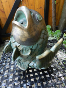Garden Feature Fish Water Fountain Spitter Glass Leaf Sink Bowl