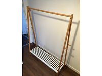 Oak and white metal clothes rail