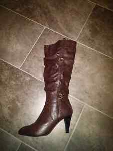 Dark brown leather stiletto boots, size 10, worn once, $40 ono St. John's Newfoundland image 3