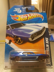 Hot wheels AMC Javelin AMX blue with Faster than Ever wheels