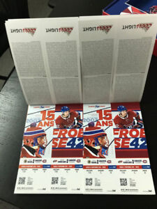Billet de hockey tickets Montreal Canadien's