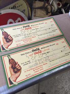 1945 Coca Cola cheques. Great Coke pieces