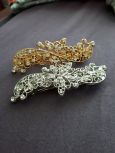 Butterfly clips, gold and silver
