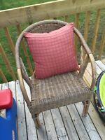 Wicker chair and pillow