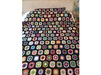 Large vintage granny crocheted wool blanket