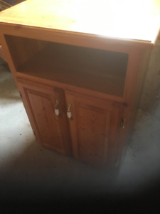 Hand Made/Solid Pine Microwave Stand/Raised Panel Doors/ storage