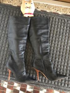 Bottes de cuir noir (haut de gamme) pour femme, GRANDEUR 8