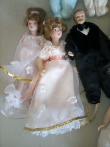 Porcelain dollhouse scale dolls