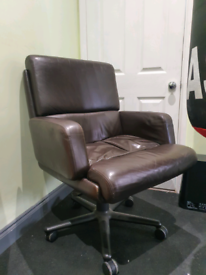 Executive Brown Leather Desk Chair