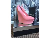Pink suede heels size 6