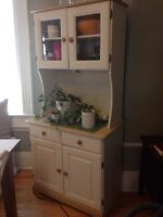 White hutch with wooden details