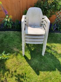 4 plastic chairs