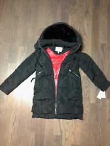 Derek Lam 10 Crosby Black and Red Coat with Genuine Fur