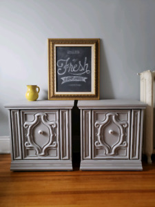 Twin Grey Side Tables