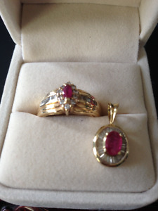 RUBY AND BAGUETTE DIAMOND RING AND PENDANT