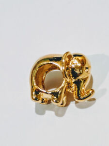 Pandora style Charm 925 Sterling Silver Gold plated Elephant