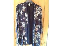 💙 Monsoon size 16 navy blue floral jacket New