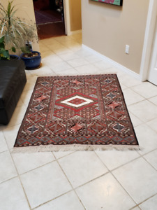 Price Reduced - Magnificent Persian Rug - Raw Silk & Wool - $375