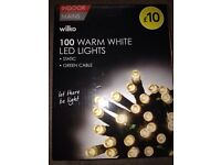 Brand new in boxed wilko 100 warm white led lights