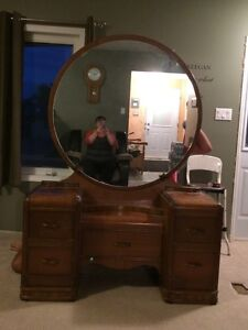 Antique dresser with mirror and matching bed frame
