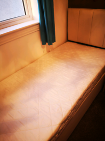 Dreams divan single bed with headboard, mattress like new and underbed