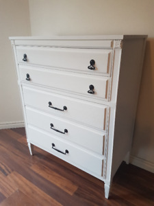 Solid Wood Dresser Re-Finished in Linen White Chalk Paint
