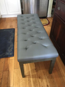 Beautiful grey tufted leather bench