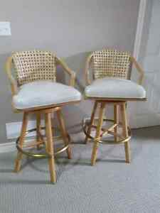BAMBOO SWIVEL BAR COUNTER STOOLS (SET OF 2) - REDUCED PRICE London Ontario image 1