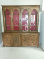 2 Piece Solid Oak China Cabinet
