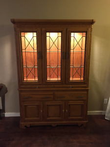 Solid Oak China Cabinet with Swarovski Crystal handles
