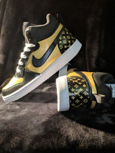 Custom black and gold lv nike