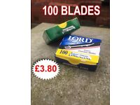 LORD SALOON SUPER STAINLESS 100 RAZOR SHARP BLADES HIGH QUALITY USE WITH ALL CUT