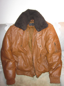 AUTHENTIC MENS SEAN JOHN  LEATHER  AVIATOR BOMBER  JACKET SIZE L