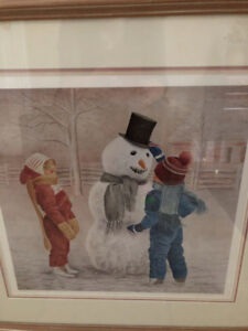 Limited Edition Print - Snowman with Children