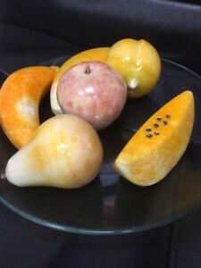 Alabaster Fruit Ornaments