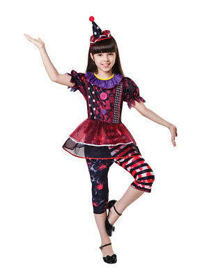 Child Halloween Clown Scary Girls Fancy Dress Costume Circus Jester Outfit Kids