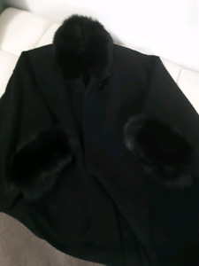 Black wool and fur Cape.