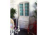 Bureaux with display glass cabinet shabby chic quality stunning piece. Beautiful