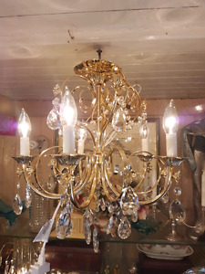 Vintage Shonbek Six-Arm Chandelier