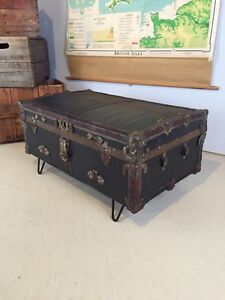 Antique Trunk Coffee Table on black Hair Pin Legs