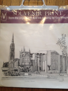 Vintage 70s Coventry Cathedral prints by Guy Magnus England