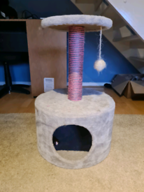 Small cat tree pink and grey